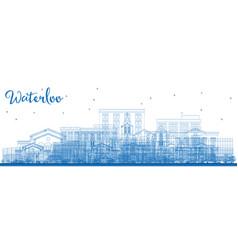 Outline waterloo iowa skyline with blue buildings vector