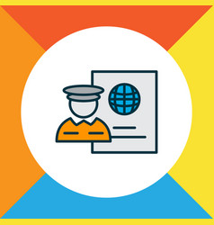 passport control icon colored line symbol premium vector image