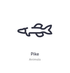 Pike outline icon isolated line from animals vector
