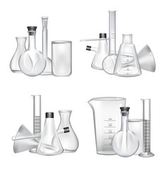 Piles chemical laboratory glass tubes vector