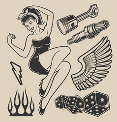 pin-up girl with elements for design vector image