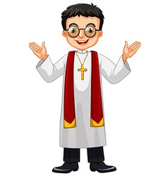 Priest wearing glasses and cross vector