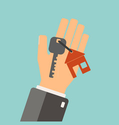 real estate concept agent holding a key for vector image