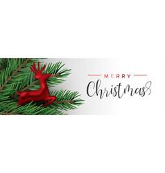 red christmas reindeer ornament in pine tree vector image
