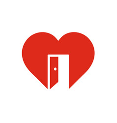 Red heart sign with open door symbol of vector