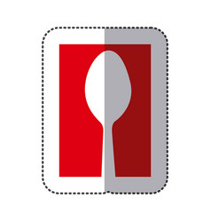 Red spoon cutlery icon vector