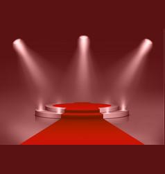 Round podium illuminated searchlights blank vector