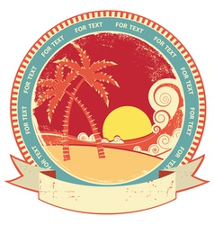 sea waves and island vintage vector image