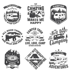 set camping badges patches camping quote vector image