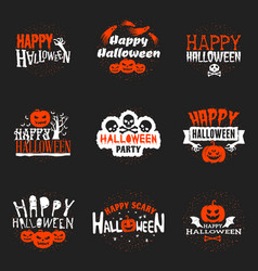 set happy halloween badges or labels design vector image