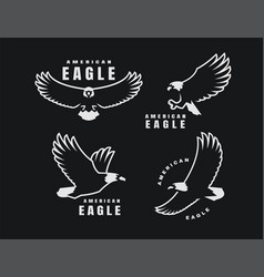 set logos american eagle in flight on a dark vector image