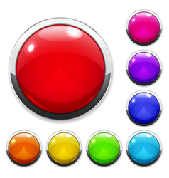 Set of big multicolored glass buttons vector image