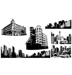 Set of black and white panorama cities art vector image