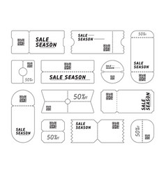 set of coupons with sale season writing with qr vector image