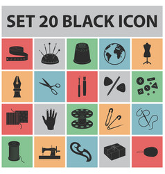 Sewing atelier black icons in set collection vector