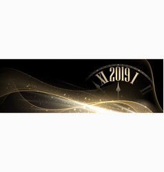 Shiny 2019 new year blurred banner with clock vector