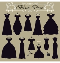 Silhouette black party dress setflat design vector