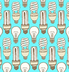 Sketch light bulbs in vintage style vector image