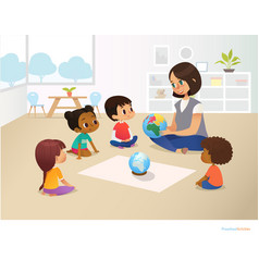Smiling kindergarten teacher shows globe to vector
