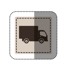 Sticker monochrome square with truck vector