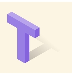 T letter in isometric 3d style with shadow vector