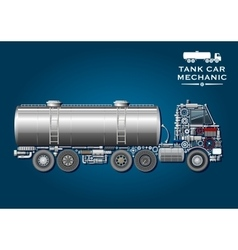tank truck symbol made mechanical parts vector image