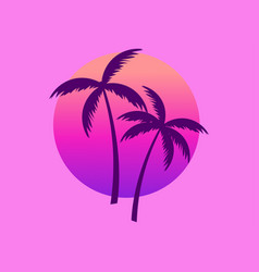 Two palm trees against a gradient sun in the vector