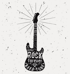 vintage guitar label with sunburst diamond bones vector image