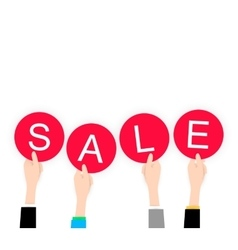 White flat Hands holding sale lable black friday vector