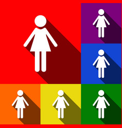 woman sign set of icons with vector image