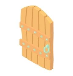 Wooden door icon cartoon style vector image