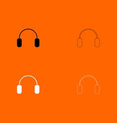 headphone black and white set icon vector image