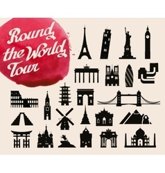 historic buildings of the world set of icons vector image vector image