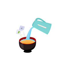 instruction of preparing noodle with pouring vector image