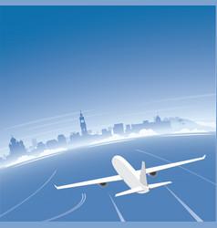 Nice skyline flight destination vector