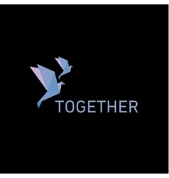 Two doves in the style of origami flying together vector image