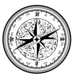 Vintage antique compass vector image