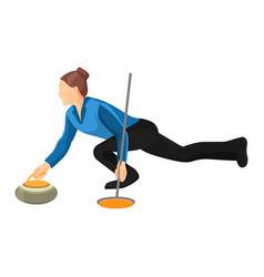 woman play curling isolated on vector image
