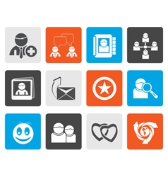 Flat Internet Community and Social Network Icons vector image