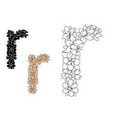 Floral font lowercase letter r vector