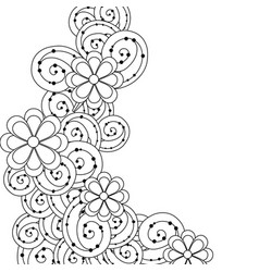 line beauty flowers with leaves and ornamental vector image vector image