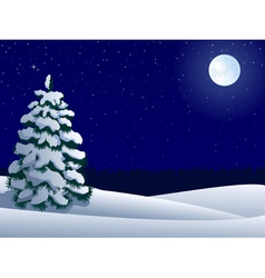 night winter landscape with lonely tree and moon vector image vector image