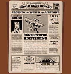 old newspaper vintage newsprint template vector image vector image