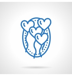 Romantic balloons icon blue line style vector image vector image