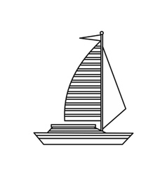 Yacht with sails icon outline style vector image vector image