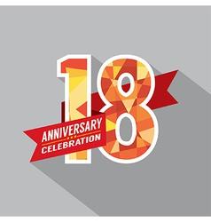 18th Years Anniversary Celebration Design vector image