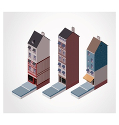 isometric old buildings vector image