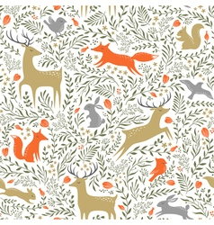 Summer woodland pattern vector image vector image
