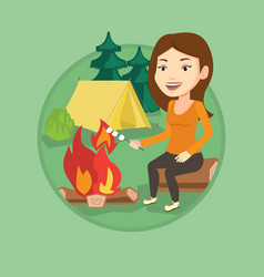 woman roasting marshmallow over campfire vector image