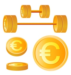 dumbbell of golden discs with euro vector image